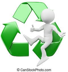 3d, uomo, simbolo, riciclaggio