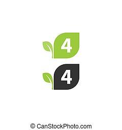 4, disegno, foglia, logotipo, numero, concetto, icona