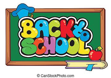 4, scuola, tema, indietro