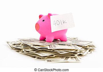 401k, dollaro, banca piggy