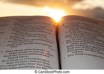 4:2., tramonto, sole, malachi, aperto, evidenziato, nubi, bibbia santa, fondo