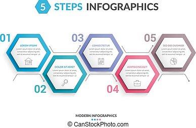 5, passi, infographics