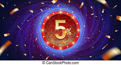 5, scontare, percento, fondo