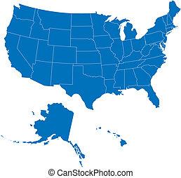 50, stati, stati uniti, blu, colorare