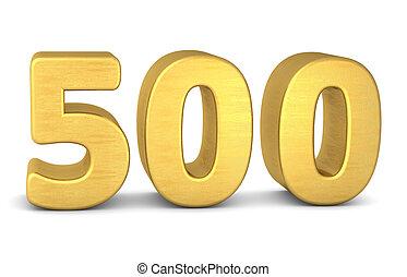 500, numero, oro, 3d