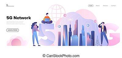 5g, ambiente, concetto, rete, città