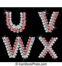 (6), diamante, vettore, letters., set, alfabetico