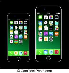 7, mobile, realistico, nero, marca, smartphone, iphone, telefono, mela, nuovo