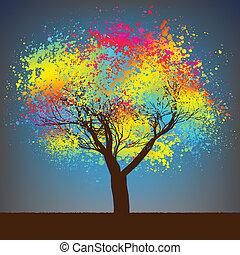 8, astratto, albero., eps, colorito