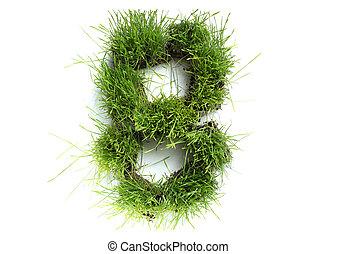 8, fatto, -, numeri, erba