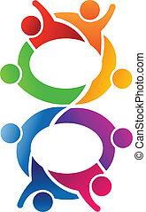 8, lavoro squadra, numero, logotipo
