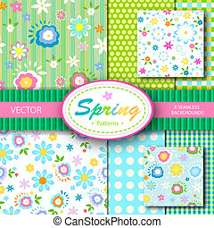 8, seamless, vettore, patterns;, primavera