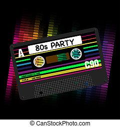 80s, festa, vettore, fondo