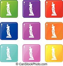 9, antico, set, statua, icone