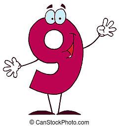 9, felice, carattere, numeri, cartone animato
