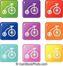 9, set, bicicletta, bambini