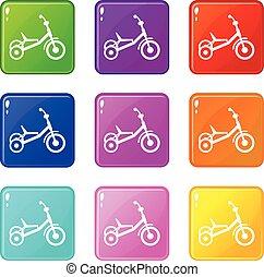 9, triciclo, set, icone