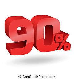 90, percento, illustrazione