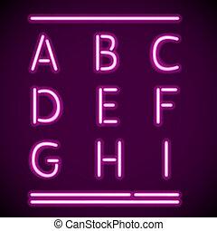 a-i, realistico, neon, alfabeto