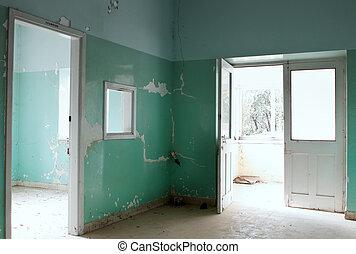 abbandonato, interno, costruzione