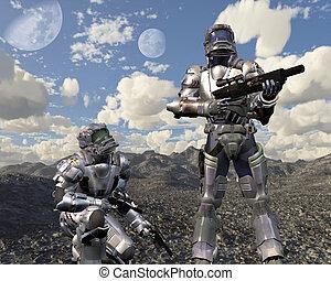 abbandonato, pianeta, marines, spazio