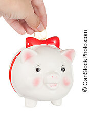abbassa, scatola, mano, pig-coin, femmina, moneta