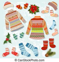 abbigliamento, riscaldare, set, inverno