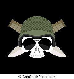 abbigliamento, terribile, emblem., knife., berretto, esercito, segno, casco, soldati, militare, cranio