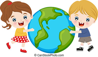 abbracciare, bambini, terra