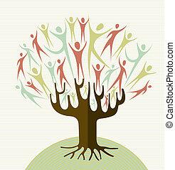 abbracciare, set, diversità, albero