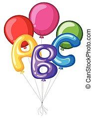 abc, colorito, alfabeto, palloni