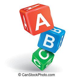 abc, parola, dado, illustrazione, 3d