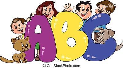 abc, primo piano., famiglia, vettore, blocchi, felice