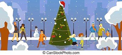 abete, ghiaccio, decorato, felice, rink, pattinaggio, persone, albero, natale