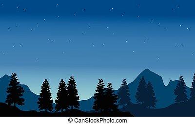 abete rosso, montagna, silhouette, paesaggio, fondo