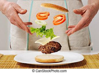 abilità, fabbricazione, hamburger