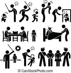 abuso, bambini, famiglia, pictogram