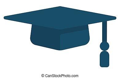 accademico, o, berretto, quadrato, laureato, blu, nappa