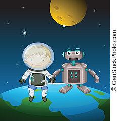 accanto, astronauta, esterno, robot, spazio