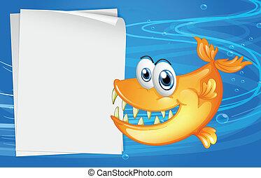 accanto, fish, acqua, carta, denti, affilato, vuoto
