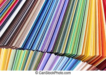 accatastato, colorito, colorare, -, carta, campioni