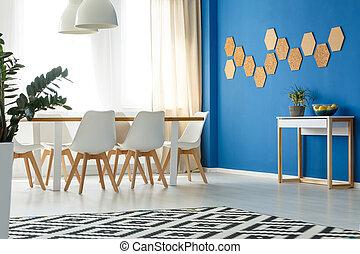 accento, stanza, parete, blu