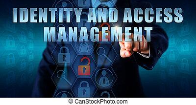 accesso, direttore, amministrazione, toccante, identità
