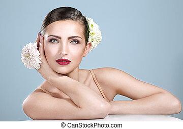 accessori, fiori, donna sorridente, bellezza, colpo