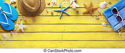 accessori, legno, giallo, spiaggia