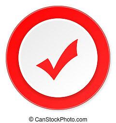 accettare, fondo, moderno, icona, cerchio, disegno, appartamento, rosso, 3d, bianco