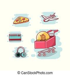 accettato, disegno, bitcoin