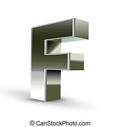 acciaio, 3d, argento, lettera f
