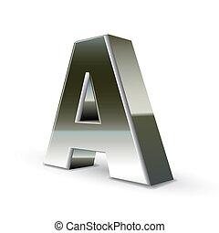 acciaio, argento, lettera, 3d