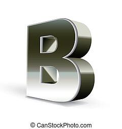 acciaio, b, argento, lettera, 3d